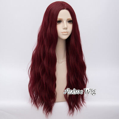 Wine Red 78cm Long Curly Party Show Heat Resistant Anime Cosplay Wig+Cap