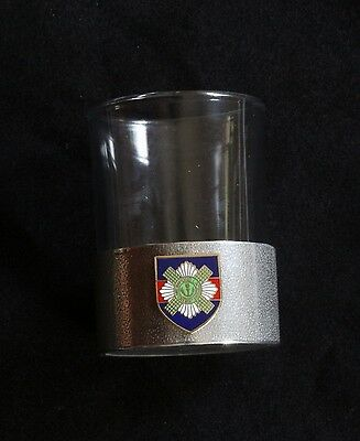 Scotts Guards Shot Glass Pewter Based Tot Round 50ml Military Gift BKG5