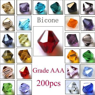 200pcs loose glass crystal bicone spacer beads 4mm AB Color