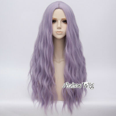Ash Purple 78cm Long Curly Party Show Heat Resistant Anime Cosplay Wig+Cap