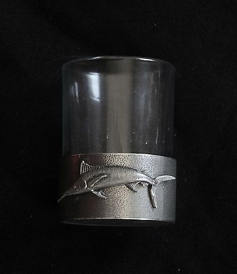 Marlin Shot Glass Pewter Based Round 50ml Fishing Gift
