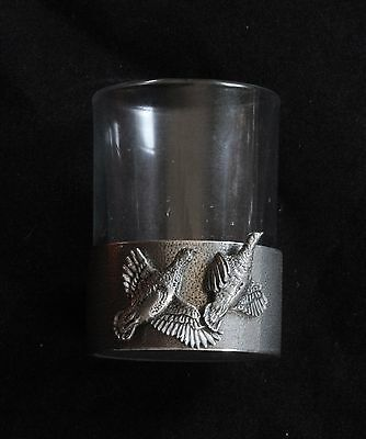 Partridge Shot Glass Pewter Based Round 50ml Shooting Gift