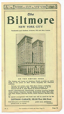 Vintage, Original, 1918 -   The Biltmore Hotel Advertisement - New York City