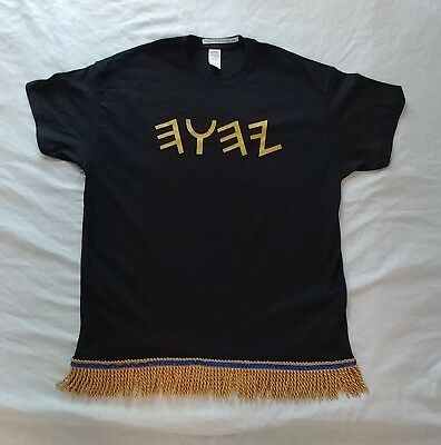 Hebrew Israelite T-Shirt w/ YHWH (in Ancient Hebrew) & Gold Fringes - Size XL