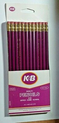 12 K&B Pencils SEALED PACK New Orleans Closed Drug Store Purple w/ Gold K & B