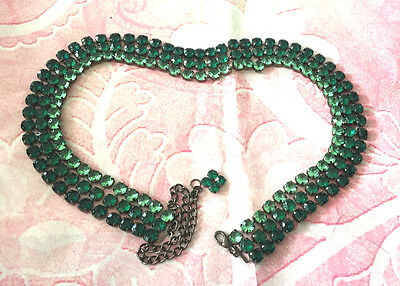 "emerald green crystal triple strand sash belt 28"" to 38"" jewelled vintage chain"