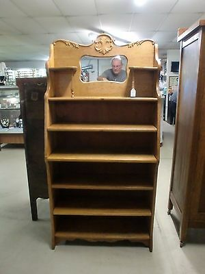 Golden Oak Mirrored Back Book Shelf Adjustable Shelves Heavy Applied Carvings