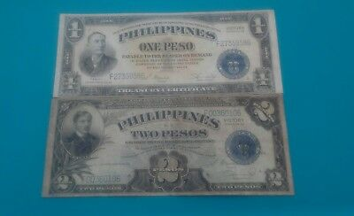 1944 Usa Philippines - 1& 2 Pesos Victory Series Banknotes..f-Xf