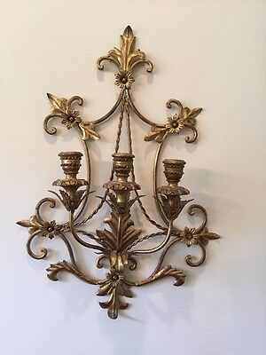 Vintage  Italian Tole Gold Gilt Wall Sconces Candle Holder