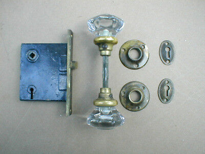 Antique Brass Door Knobs Lock Set W Rosettes And Keyholes Hardware Old Vintage