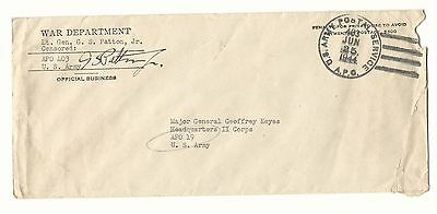 George S Patton Signed Envelope, JSA LOA and PSA DNA, WWII General D.1945 RARE!