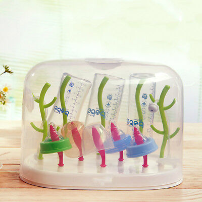 Infant Milk Bottle Drying Rack Hang Out Dust Proof Cover Detearing Cup Holder