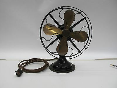 "Vintage Robbins & Myers 9"" Brass Blade Oscillating Fan #3100 - Works"