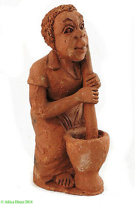 Clay Figure Woman Pounding Malawi African SALE WAS $15