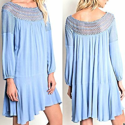 Umgee Dress Size XL S M L Blue Lace Tunic Long Sleeve Boho Womens Boutique New