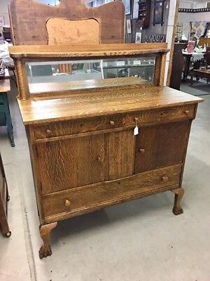 Antique Fantastic Oak Claw Foot Beveled Mirror Sideboard Buffet Server