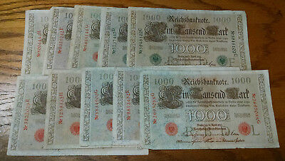 Ten Germany 1000 Mark Reichsbanknotes - BINo