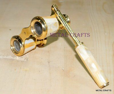 Antique Brass Binoculars Vintage French Opera Glasses Victorian Mother Of Pearls