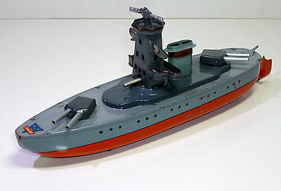 """Very Rare ARNOLD (Germany) #Tin Clockwork """"BATTLE CRUISER"""" with cannons."""