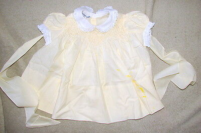 VINTAGE Baby Girl's Dress Approximate 12 mo-HAND SMOCKED-Polly Flinders Label