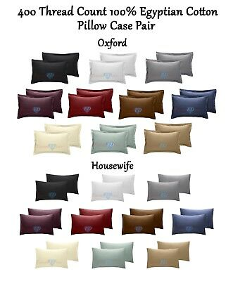 400 TC Thread Count 100% Egyptian Cotton Pillow Case Pair - Housewife / Oxford