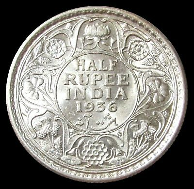 1936 Silver India Half Rupee George V King Emperor Coin Calcutta Mint Mint State