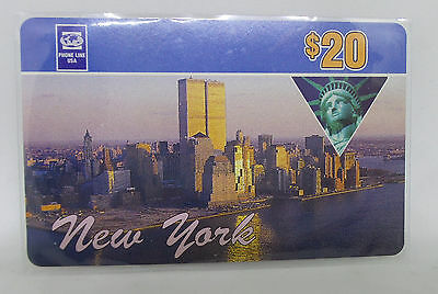 Phone Line USA $20 Prepaid Phone Card New York - World Trade Center Towers 1990s