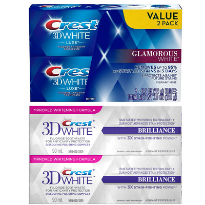 Crest Twin Pack 3D White Luxe Glamorous White Teeth Whitening Toothpaste, 2 Pack