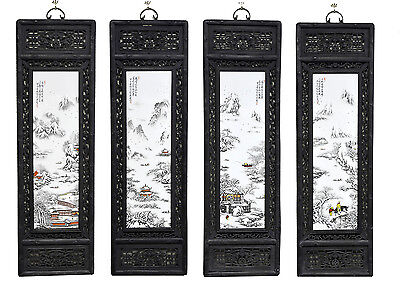 Large Set of 4 Chinese Painting Snow Landscape Porcelain Wall Hanging Plaque