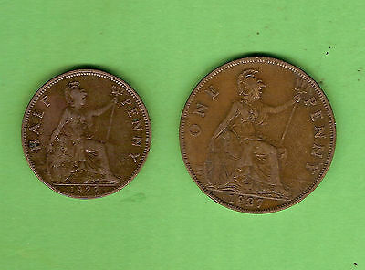 1927  Great Britain Bronze One Penny & Halfpenny Coins