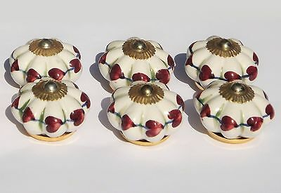 6 x White flower with plum hearts Brass fittings ceramic cupboard knobs pulls