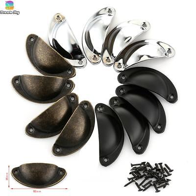 12pcs Retro Shell Pulls Iron Conch Cup Handle Knob Drawer Cabinet Decor Bin Pull