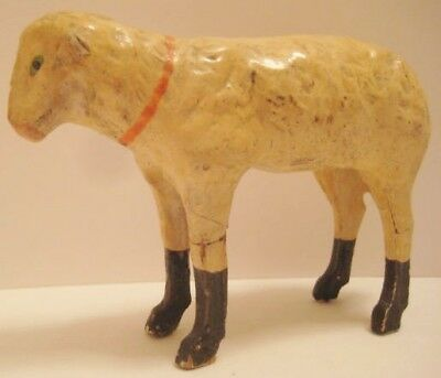 Old 1920s German Composition Sheep for Christmas Putz Village or Nativity