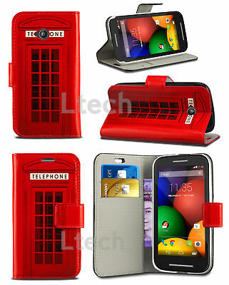 Red Telephone Design Printed Pattern Wallet Book Phone Case (Various Models)
