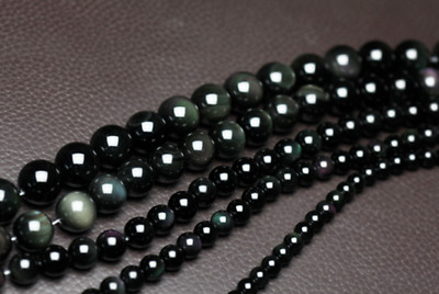Natural Black Rainbow Eye Obsidian Gems Round Beads Strand 6/8/10/12/14/16mm