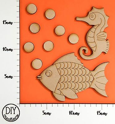 MDF Ocean SET - Seahorse, Fish and Bubbles - DIY Decor for Adults and Kids