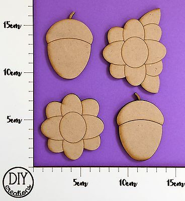 MDF Acorns and Flowers - Set of 4 - DIY Decor for Adults and Kids