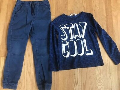 Boys Clothes Size 8-10y H&M , navy shirt and navy pants