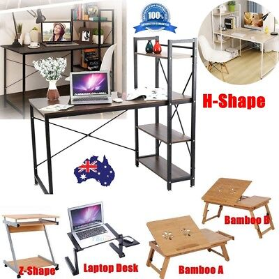 Home Study Laptop Desk Computer Table Business Worksation Bookcase Shelf Stand