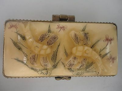 Collected China Tibet Hand-carved Lovely Dragonfly Flowers Snuff Box Jewelry Box