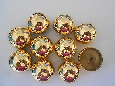 M74 * 12 Gold Metal & Resin Shank Buttons New 27Mm & 20Mm Thick