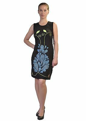 Tattopani Women's Sleeveless Dress With Colorful Contemporary Print & Embroidery