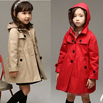 Kids Girls Hooded Top Trench Coat Windbreaker Button Jacket Outwear Age 2-10Y