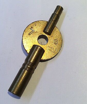 Brass Double Ended Carriage Clock Winding Key No.7 & 000 (3.8mm & 2mm)