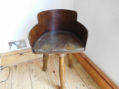 Found* Original Antique Rare Childs 3 Legged  Oak Seated Swivel  Milking Stool