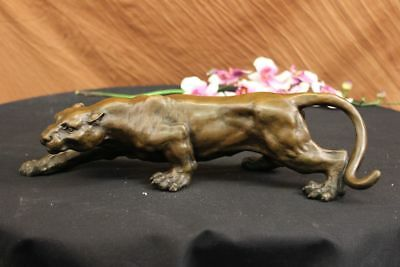 Real Bronze Barye Cougar Panther Mountain Lion Statue Sculpture Statue Figurine