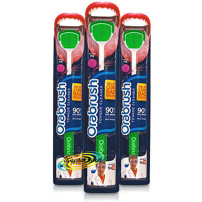 3x Dentek Orabrush Tongue Cleaner Scraper Soft Bristle Removes Bad Breath