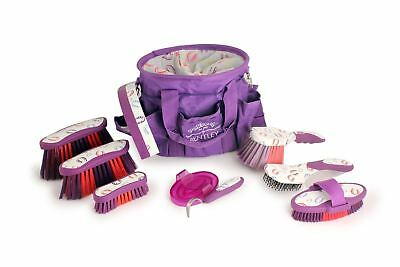 Deluxe Purple Horse Grooming Set Patterns Brush Gift Kit Bentley Equestrian
