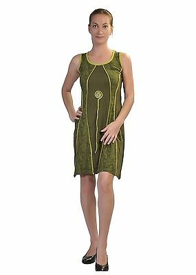 Women's Green Sleeveless Dress With Patch Design