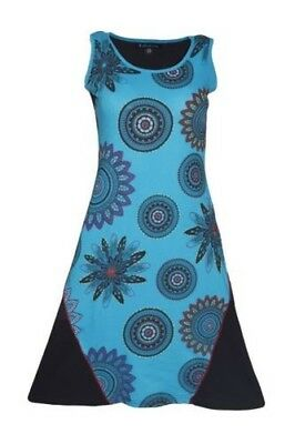 Tattopani Women's Sleeveless Dress With Front Mandala Print & Embroidery Work